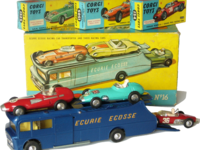 Ecurie Ecosse Racing Car Transporter with 3 Racing Cars Image 1